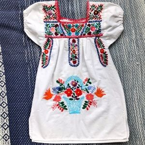 White Cotton Dress with Embroidery